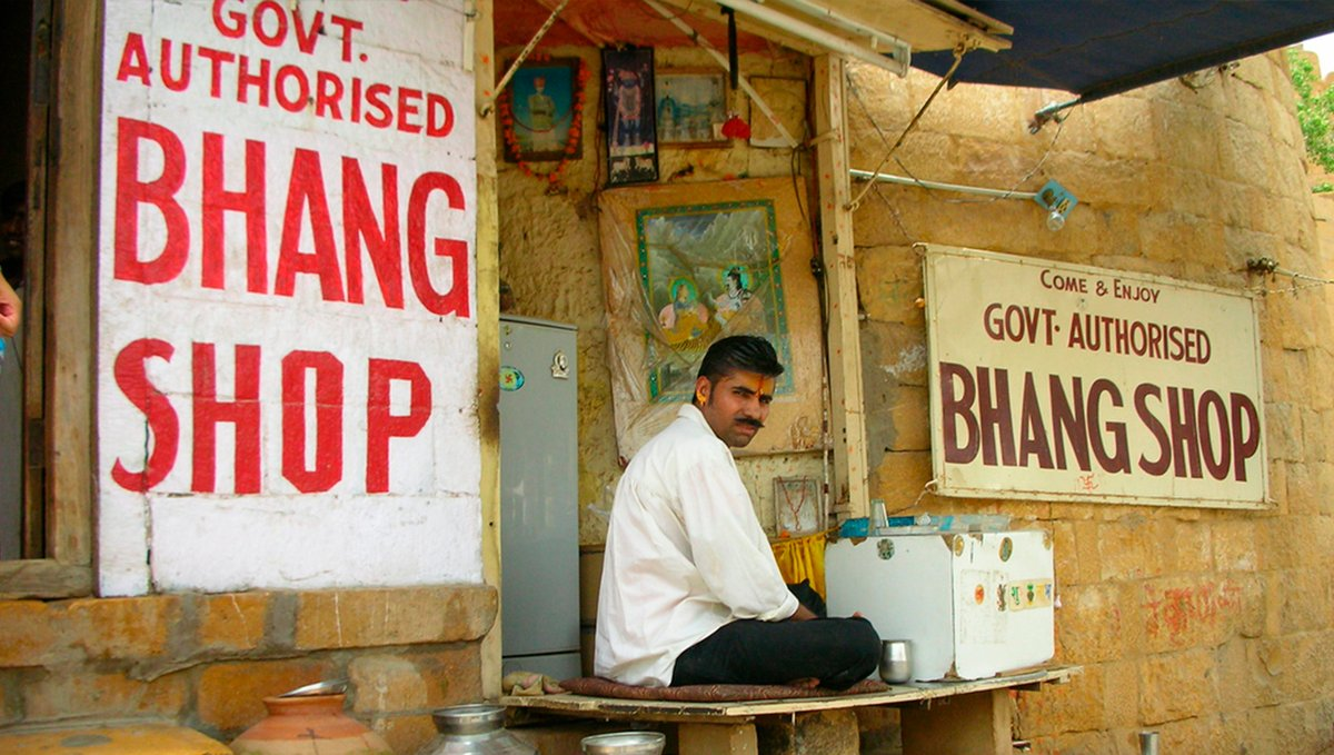 Bhang shop in India, authorized by the government.