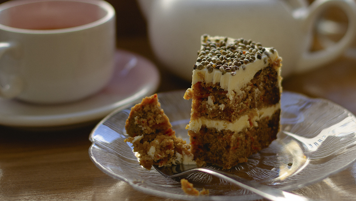 Tasty, nutty flavored hemp seeds in a cake.