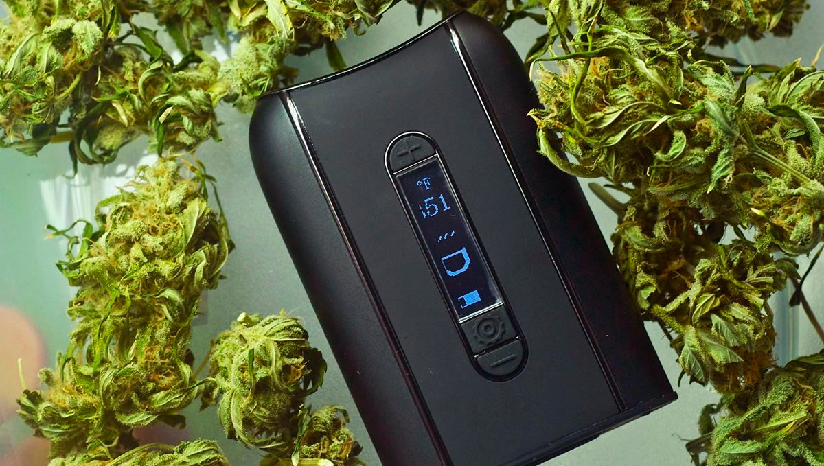 Set the temperature for your dry herb vaporizer.
