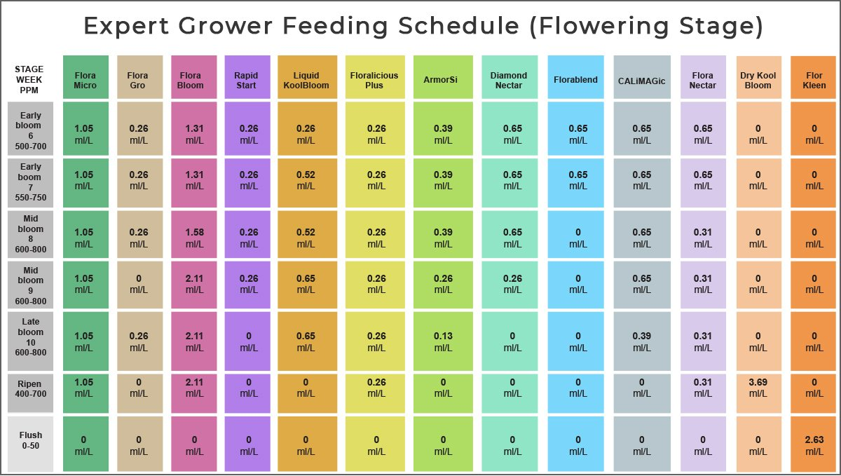 General hydroponics feeding chart: expert grower schedule for bloom